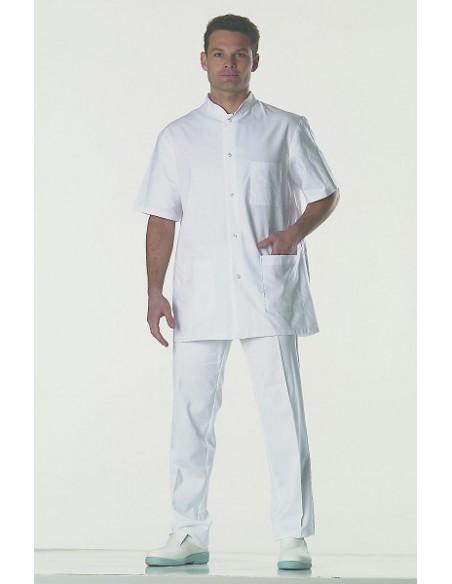 Blouse docteur à pressions manches courtes 100 % coton 180gr