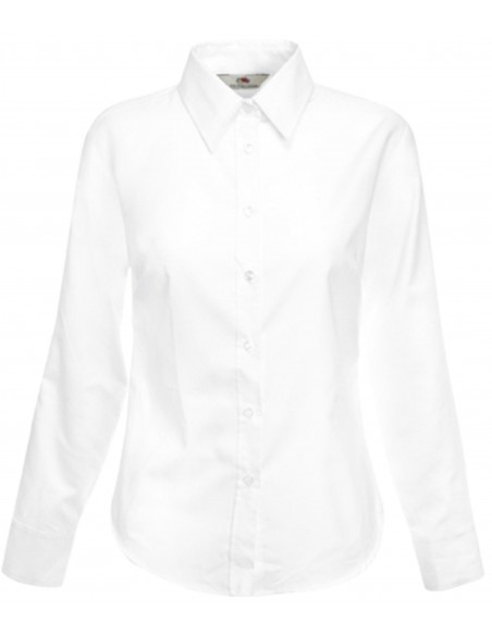 Chemise femme oxford manches longues 70 % coton 30 % polyester