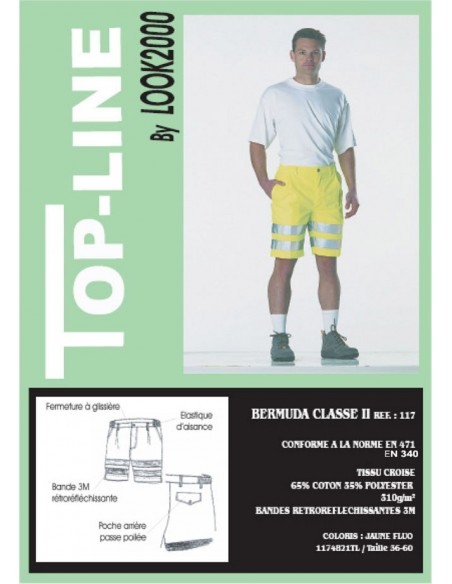 Bermuda haute visibilité classe2  65 % coton 35 % polyester 310gr