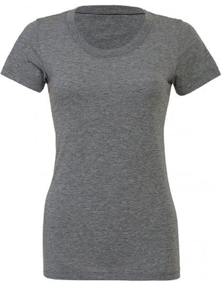 Tee-shirt femme col rond 50% polyester 37.5% coton 12.5% rayon