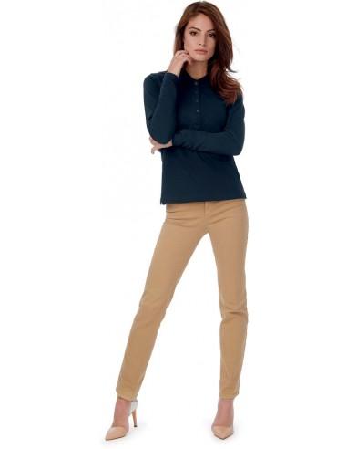 Polo femme manches longues 4 boutons 100 % coton peigné pré-rétréci